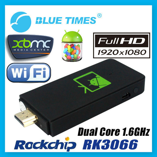 Bluetimes Android 4.1 Mini PC Dongle TV Box XBMC Pre-installed Media Center Player Dual Core RK3066 MK802 IIIs Free Shipping