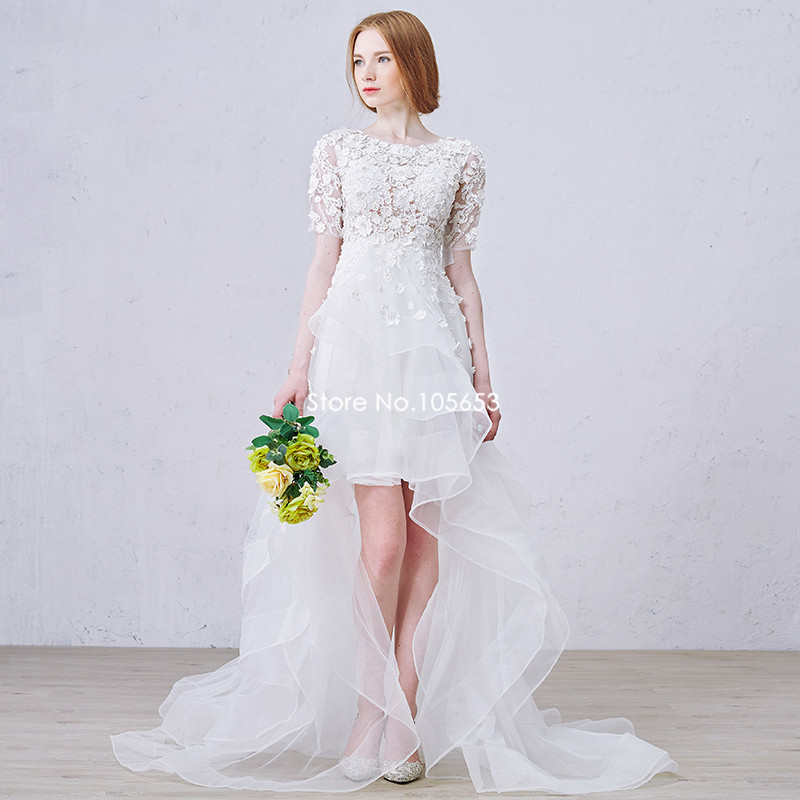 Newest hot sale short sleeves o neck beaded front short for Wedding dresses less than 300