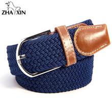 Buy Men Women's Canvas Plain Webbing Metal Buckle Woven Stretch Waist Belt Metal Buckle Woven Braid Belts for $5.28 in AliExpress store