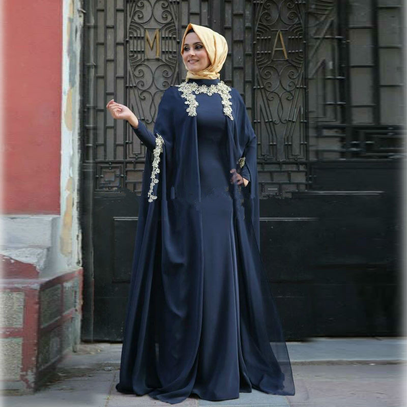 Vestido De Noiva 2017 Blue Muslim Wedding Dress Long Sleeve Appliques Lace O Neck Turkish Islamic Hijab Wedding Bridal Gowns(China (Mainland))