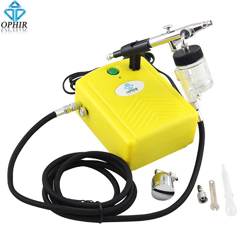 Фотография OPHIR 0.3mm Airbrush Spray Paint Gun with Air Compressor for Model Hobby Body Tattoo Car Painting Nail Art _AC034+AC005+AC011