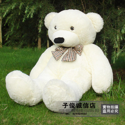 lovely huge bear toy plushed toy cute big eyes bow stuffed bear toy teddy bear birthday gift white 100cm(China (Mainland))