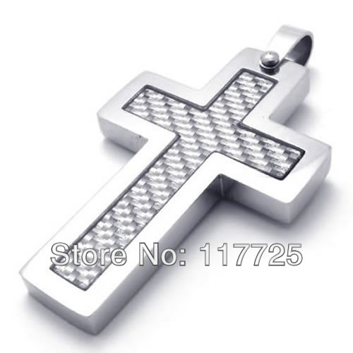 Fashion Jewelry Carbon Fiber Stainless Steel Cross Mens Womens Pendant Necklace Send Chain - The King of store
