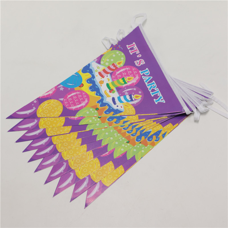 New Arrival Birthday Cake Theme Party Paper Flags Purple paper banner bunting party favour birthday decoration 10pcs/line BQ50(China (Mainland))