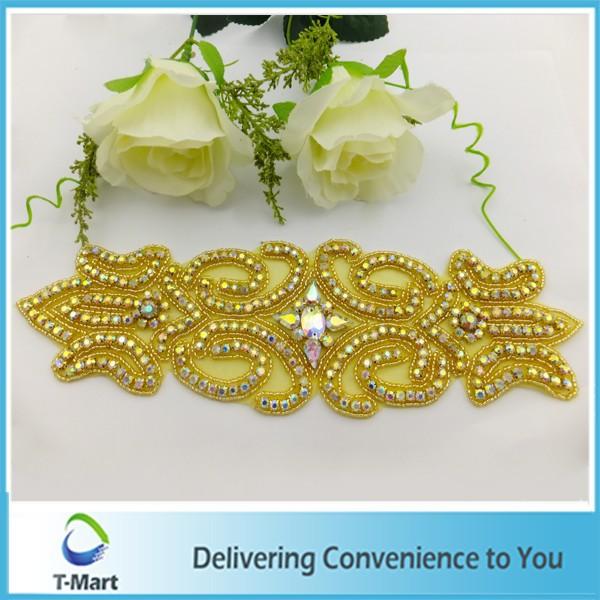Elegant design golden color wedding clothing decoration appliques(China (Mainland))