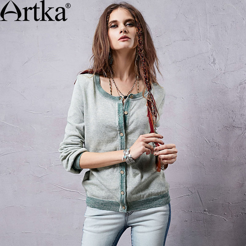 Artka Women's Spring Loose Comfy Retro Fresh Solid Color Long Flare Sleeve Cotton Linen Knitted Cardigan WB15355C(China (Mainland))