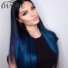 2 Tone Ombre Blue Human Hair Weave Colored Brazilian Straight Hair 3 Bundles Blue Ombre Virgin Human Hair Extensions HANNE hair