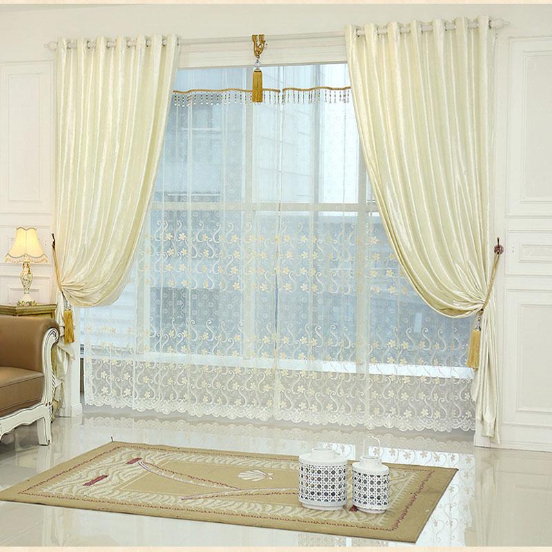 White Window Curtain Living Room Bedroom Luxury Curtains