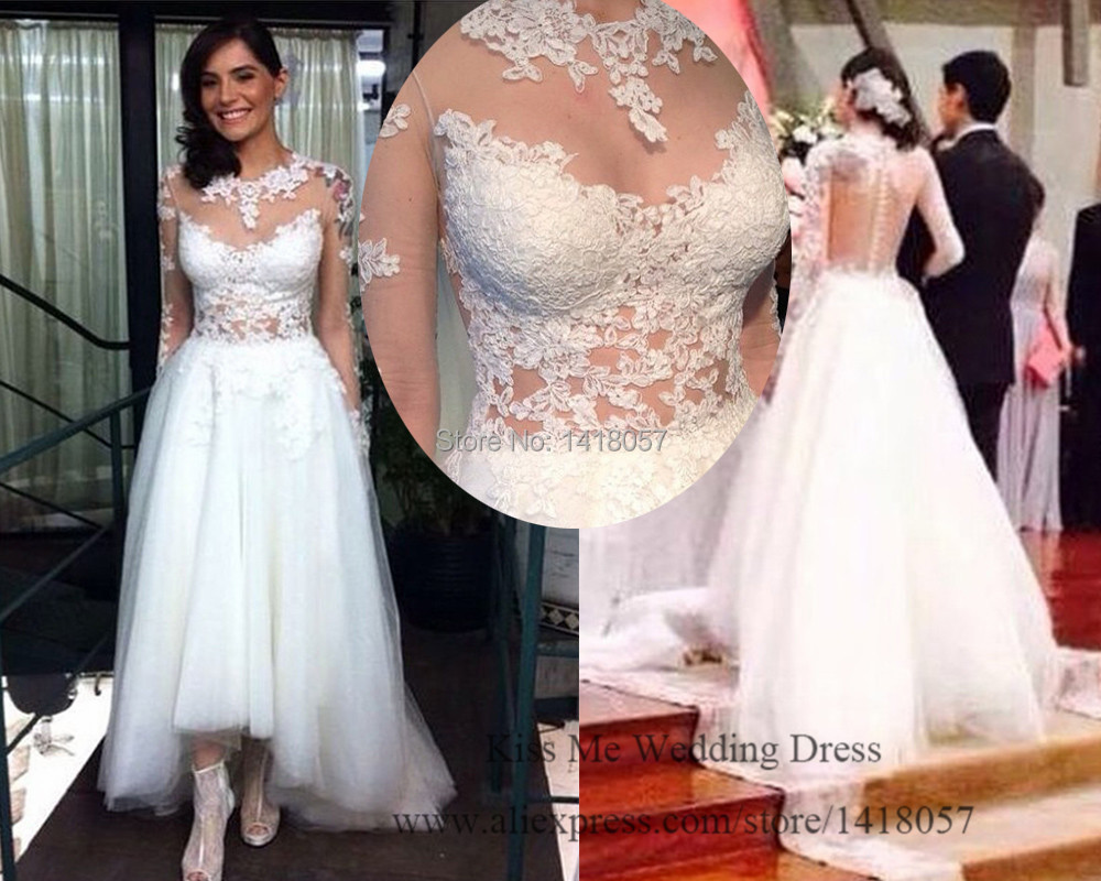 White lace sexy wedding dress short front long back bridal for Short open back wedding dresses