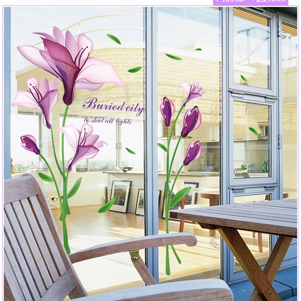 Purple Vegetable Wall Art: Purple Romantic Big Flower Wall Stickers Home Decor