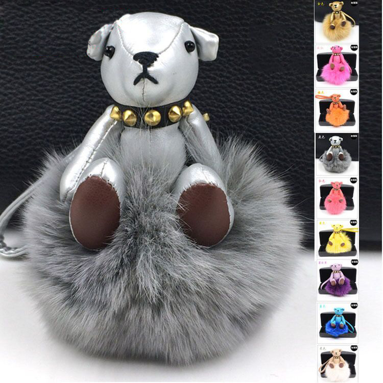 2015 Real Leather Keychains Real Fox /Rabbit Fur Monster Doll Keychain Charm Golf Bear Bag pendant Strap Car Key rings 15 Colors(China (Mainland))