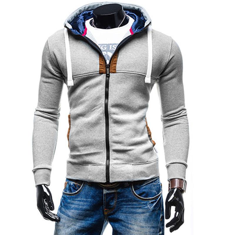 Последние новинки 2015 мужские мода тонкой капюшоном толстовки пуловер толстовка свободного покроя молния костюм пиджаки moleton masculino 4 цвета