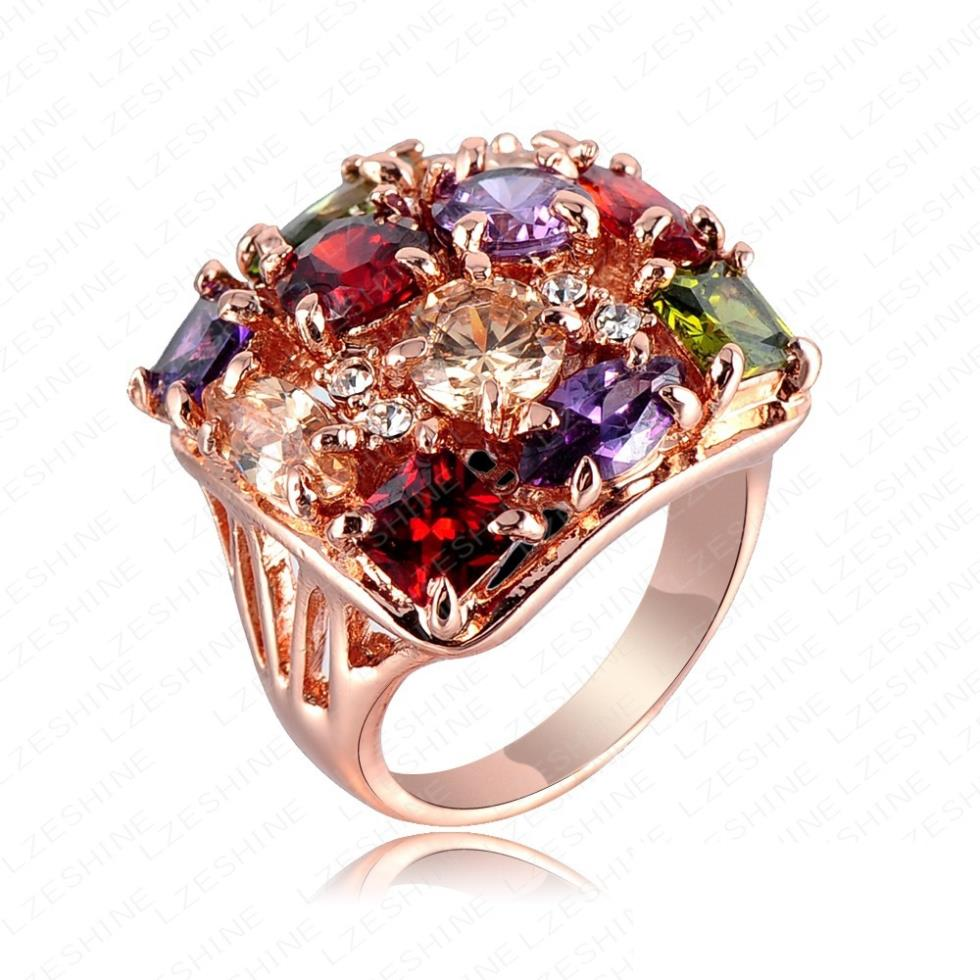 Buy colourful crystal ring 18k rose gold for Decoration jewels mhw