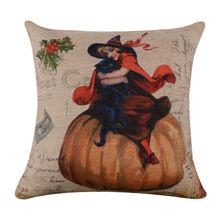 Retro Witch Black Cat on Pumpkin Burlap Cushion Cover Throw Pillowcase