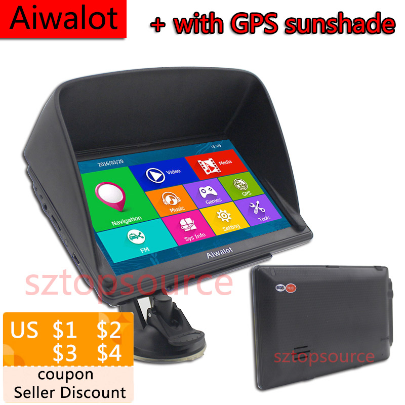 High Quality 7 Inches HD Car GPS Navigation Brand AAA Truck gps Sat nav FM 8GB/256M DDR/800MHZ Windous ce6.0 With GPS sunshade(China (Mainland))