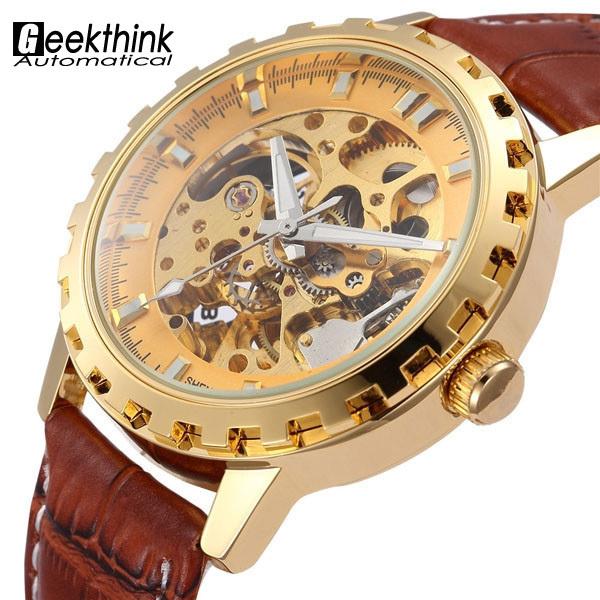 Урожай роскошные золотые мужчины наручные часы скелет часы мужской кожаный ремешок антикварная стимпанк свободного покроя автоматические механические часы новый