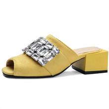 Buy size 34-48 Bling Sandals Crystal Summer High Heels Casual Flip Flops Slip Shoes Woman Fashion Square heel Outside Slippers for $26.95 in AliExpress store