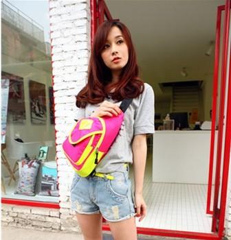 2014 Rushed Promotion Nylon Handbag Bolsas Bicycle Casual Waist Pack Fashion Neon Color Block Chest Messenger Bag United States