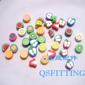 50pcs/lot,DIY Jewelry Findings,10mm polymer clay beads,fruit pieces,mix color,bracelet accessory Fimo Slices