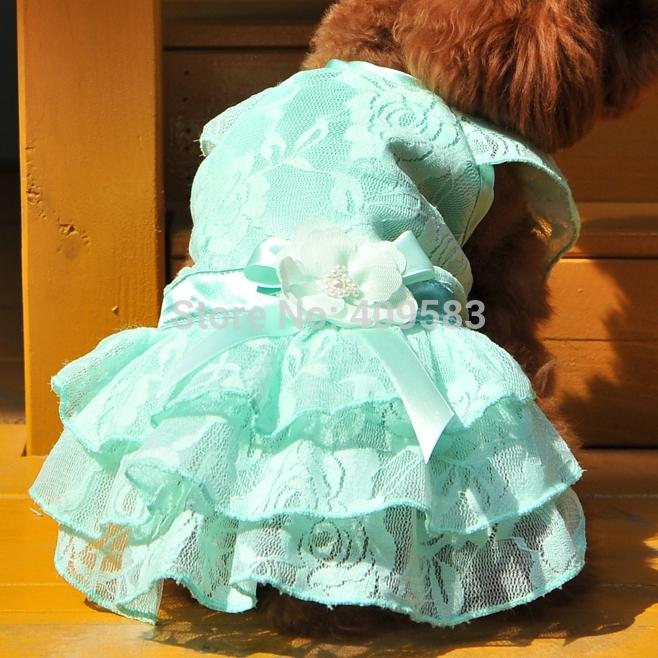 2015 Hot Chihuahua Clothes Blue Pink Lace Mesh Princess Wedding Pet Dog Dress For Puppy Animals Dachshund Yorkshire Wholesale(China (Mainland))