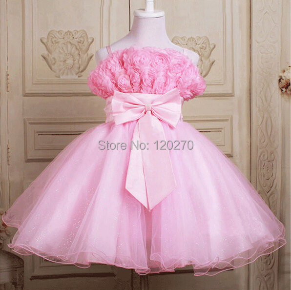 Summer Baby Girls Princess Dress Bowknot Rose Flower Tutu Children's Layered Kids Chiffon Tiered - Honey Baby's store