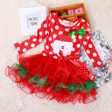 QZ-448,new red color dot Children's clothing baby girls princess dress Christmas dress up for girls ,kids baby party clothes(China (Mainland))