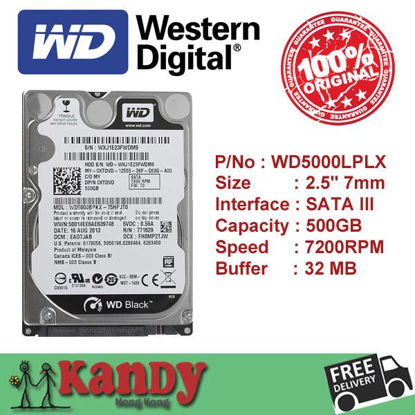 Western Digital WD Black 500GB hdd 2.5 SATA disco duro laptop internal sabit hard disk drive interno hd notebook wholesale lot(China (Mainland))