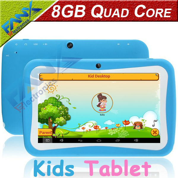 Free Shipping 7 inch Quad Core Children Kids Tablet PC 8GB RK3126 Android 4.4 MID Dual Cam & Educational Games App Birthday Gift(China (Mainland))