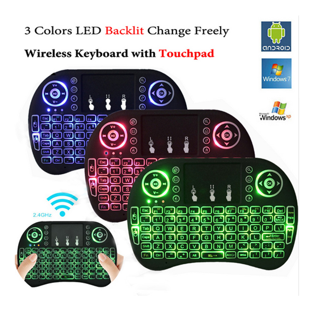 Backlit i8 Air Mouse Mini Wireless Keyboard Touchpad Remote Control for Android TV BOX X92 Z4 T96 pro Backlight PC PS3 Gamepad(China (Mainland))