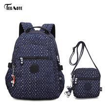TEGAOTE klasyczne torby szkolne dla nastoletnich dziewcząt 2 szt. Torba zestaw kobiet plecaki studenci torby na książki saszetka crossbody plecak Moclila(China)