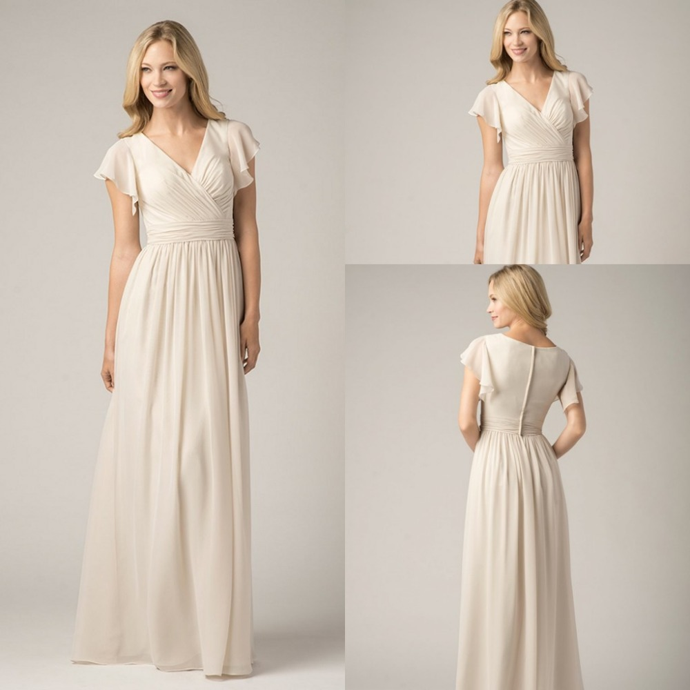 Concise 2015 V Neck Pron Dresses Ivory Long Cheap Mother