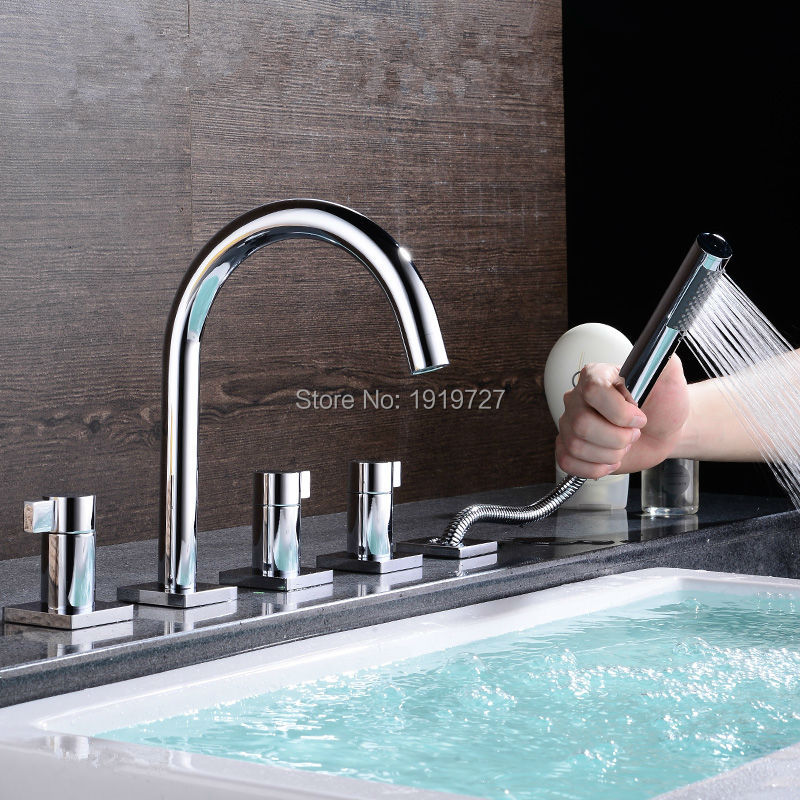 Bathtub Sink Round Style Gooseneck Water Outlet Faucet Shower Deck Mount Bath Tub Mixer Tap With Pull Out Handheld Shower Spray(China (Mainland))