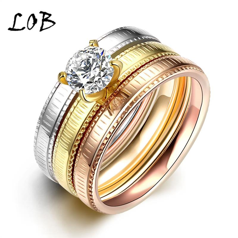 9mm Wide Fashion Rose Gold Silver Plated Stainless Steel Jewelry Titanium CZ Rings For Women Men Wedding Engagement Ring R034(China (Mainland))