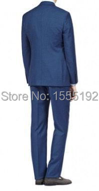 2015 custom made blue men's suits with vest the suits for men tuxedos Gentleman men's dress Personality Wool polyester blend gro(China (Mainland))