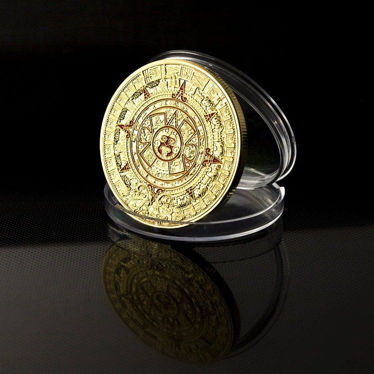 Mix ! free shipping wholesale Mayan Prophecy calendar 2012 Commemorative Coin & Mint Mayan AZTEC 24k .999 gold coin ,4 pcs/lot(China (Mainland))