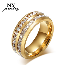 18k gold full crystal wedding ring for men and women top quality R-006