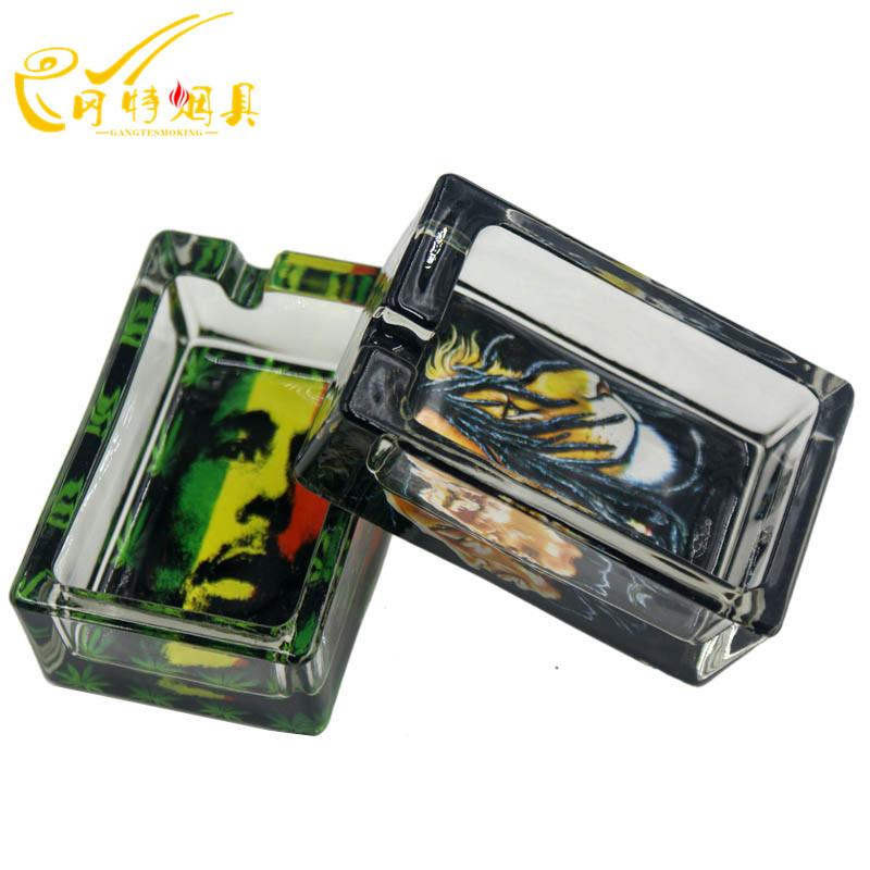 Fashion Jamaica Small Square High Quality Glass Crystal Cigar Ashtray Home Car Ashtrays GT-1117(China (Mainland))