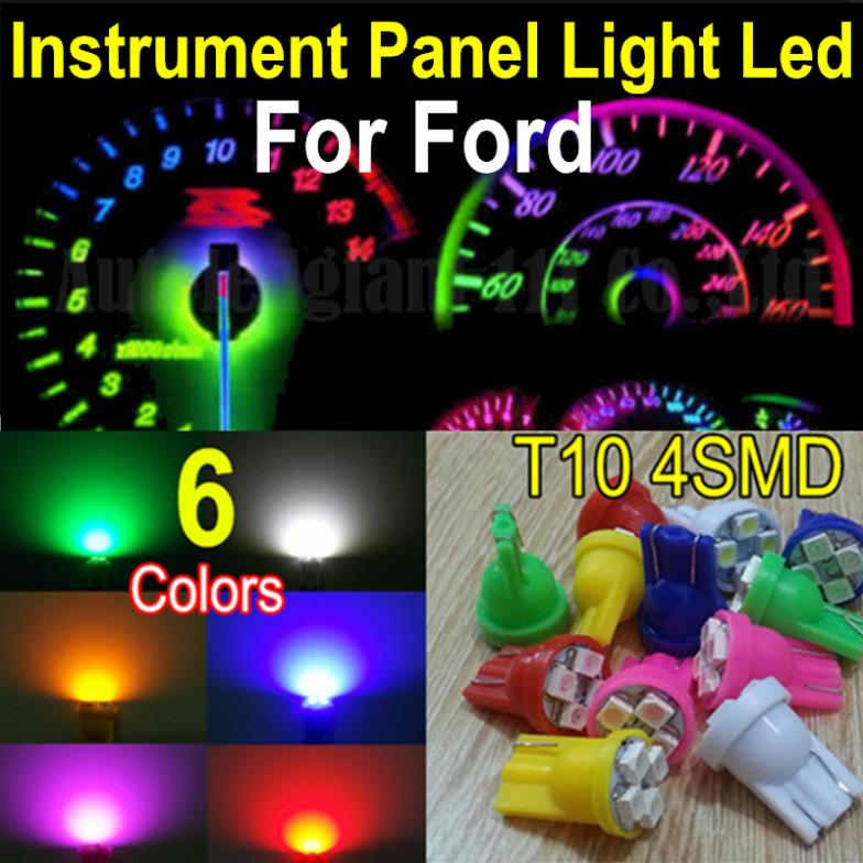 10X W5W Led T10 194 Wedge Base White Blue Red Green Yellow Pink Led Illumination Instrument Panel Light Bulbs For Ford(China (Mainland))