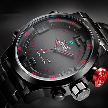 Мужские роскошные спортивные кварцевые наручные часы в стиле милитари из нержавеющей стали со светодиодным дисплеем, водонепроницаемость 30 м (красные)