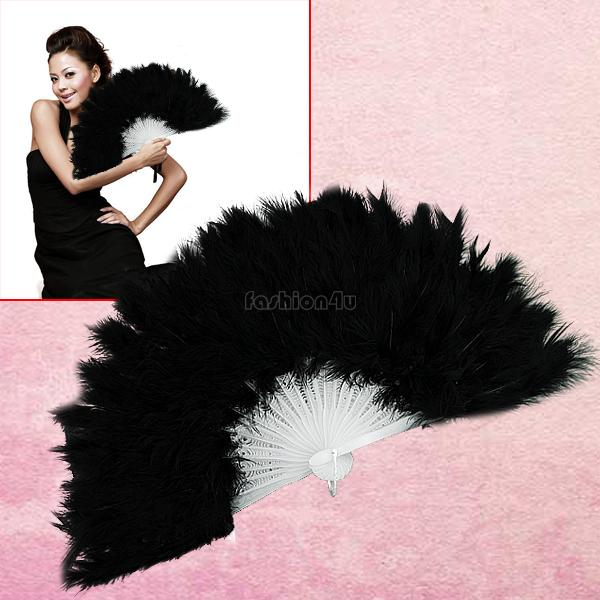 fluffy soft feather costume hand held folding fan black EN0770(China (Mainland))