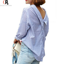 Shirt 2016 Autumn Long Sleeve Blue Striped Back Button Loose Casual Oversized Top Blouse Women Clothing(China (Mainland))