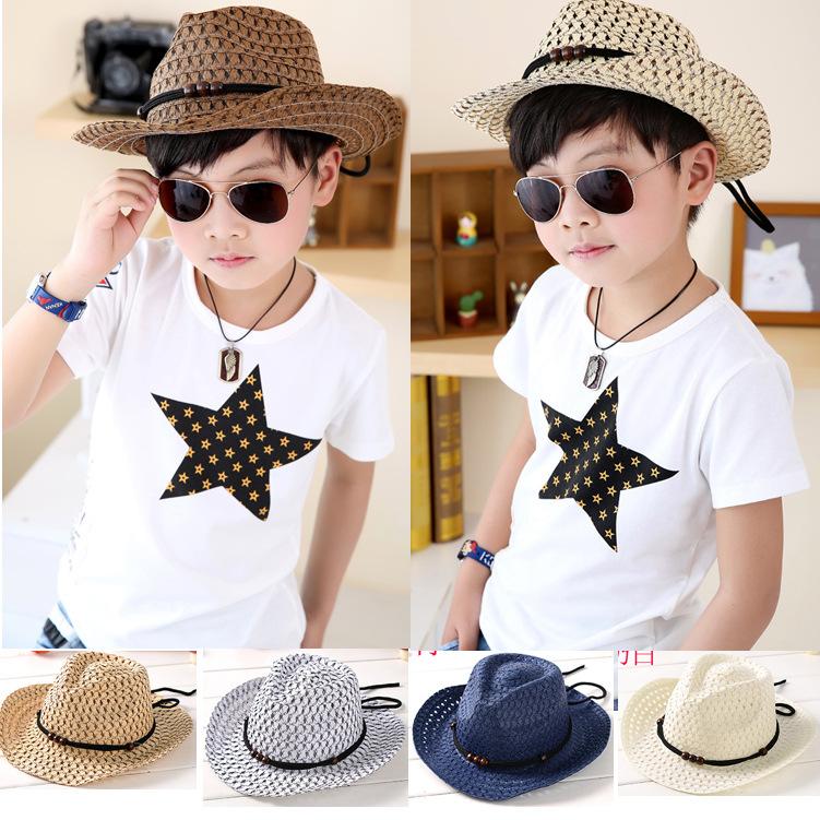 Hand woven children's cowboy hat leisure jazz hat summer Baby Hat Beach Hat(China (Mainland))