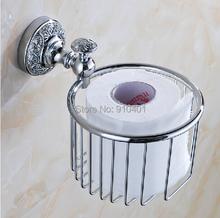 Modern Embossed Flower Carved Chrome Brass Bathroom Toilet Paper Rack Tissue Basket Storage Holder - GOODFAUCET store