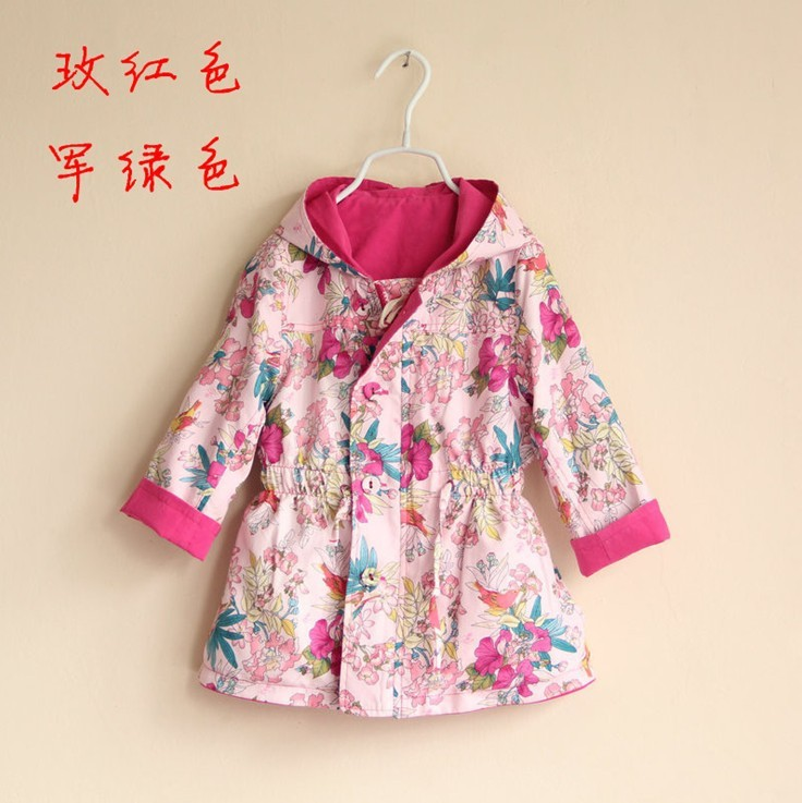 2 color ~ girls Wear on both sides wind coat hooded Outerwear childrens clothing wholesale<br><br>Aliexpress