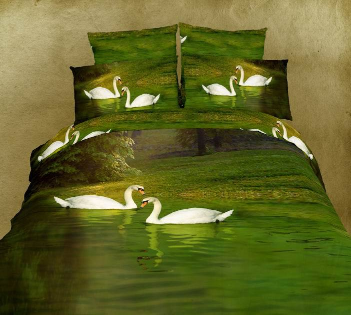 3D Green swan lake aqua water bedding comforter set king queen size bedspread sheets duvet quilt cover bed in a bag 100% cotton(China (Mainland))