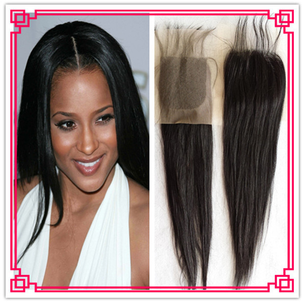 Peruvian lace closure unprocessed virgin remy human hair straight wave lace closure free part 4*4 size<br><br>Aliexpress