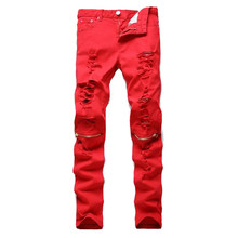 2016 New Mens Knee Zipper Jeans Destroyed Ripped Hole Jeans Nightclubs Skinny Denim Pants Army Green Red Q2002