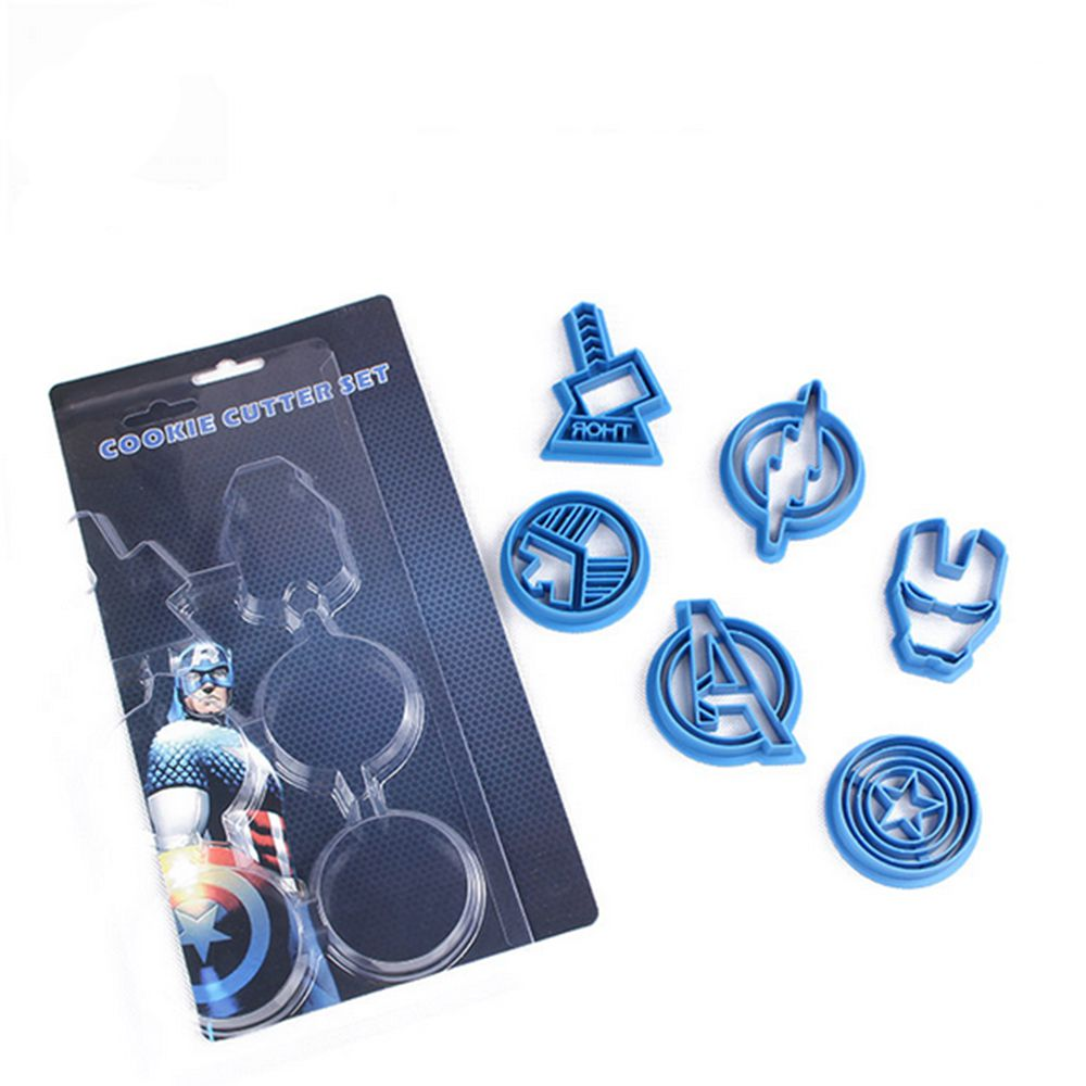 6pcs/set cookie cutter suit The Avengers Thor Iron man The Flash Captain America S.H.I.E.L.D mini biscuit cutter free shipping(China (Mainland))