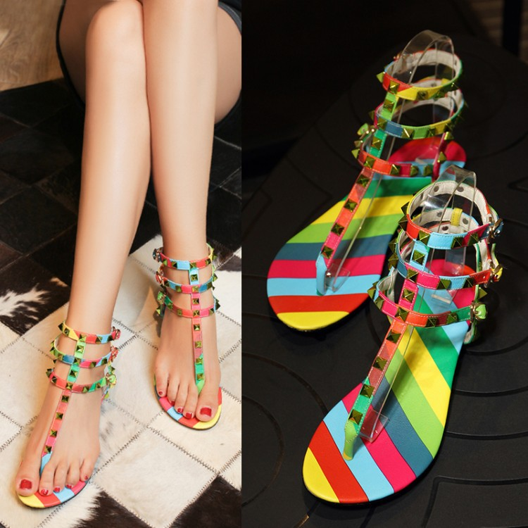 2015 summer style rivet Rainbow pattern gladiator sandals women Ankle strap platform sandals leather Mixed Colors Luxury brand <br><br>Aliexpress