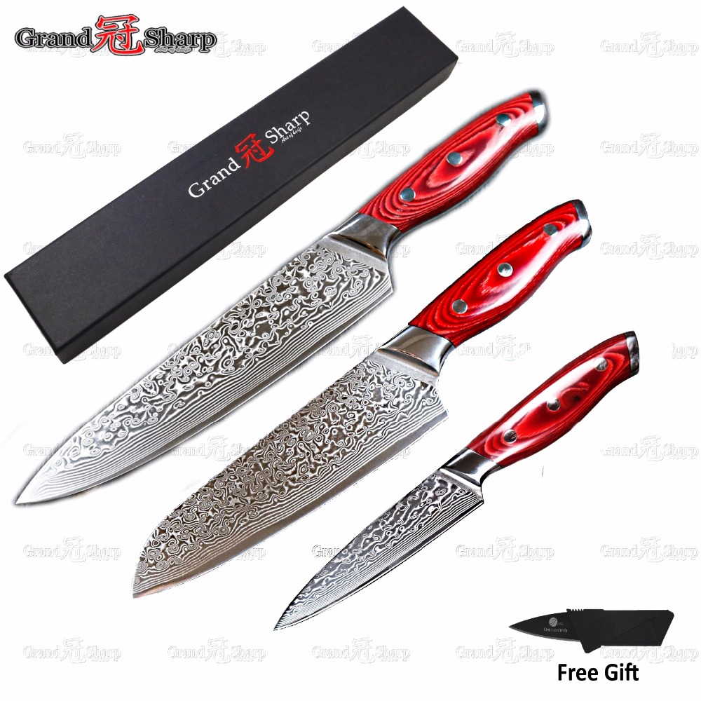 GRANDSHARP 3pcs Damascus Knife Set 67 Layers Japanese Damascus Steel vg10 Chef Santoku Utility Kitchen Knives FREE GIFT